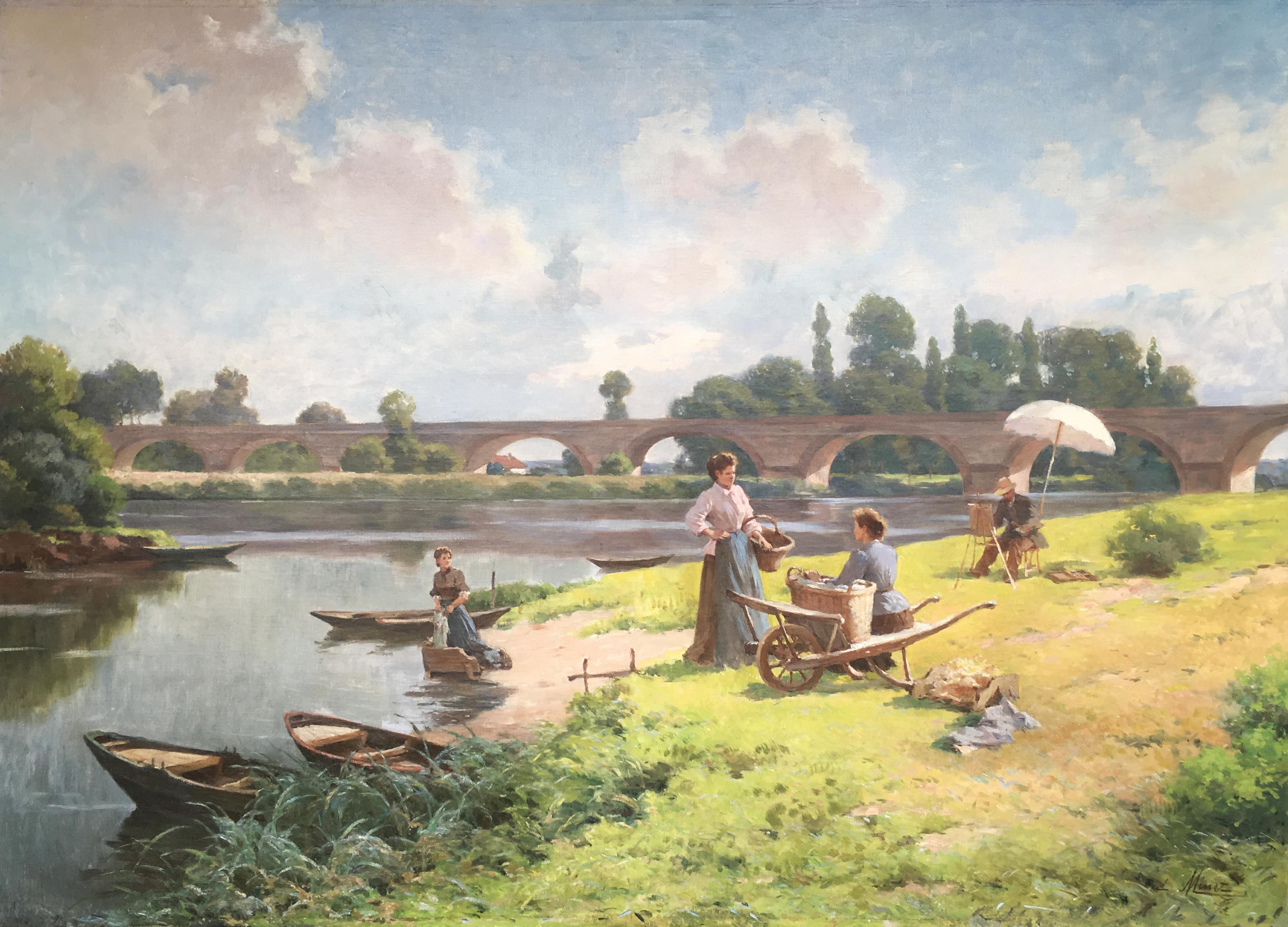 Emile_Louis_Minet,_Les_Lavandières_et_le_Peintre_à_Pont_de_L'Arche